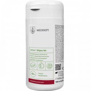 <b>Velox® Wipes NA puszka.</b> Bezalkoholowe chusteczki domycia idezynfekcji wyrobów medycznych.