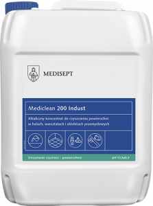 <b>Mediclean 200 Indust 5l.</b> Koncentrat do czyszczenia powierzchni w obiektach przemysłowych.